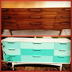 """Mid Century Modern update to funky """"ombre"""" style buffet. facebook.com/ditchestoriches"""