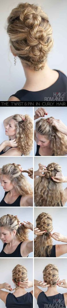 Hairstyles for curly hair, create this pretty line of buns for a lovely look.