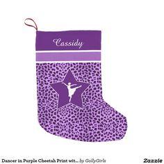 Dancer in Purple Cheetah Print with Monogram Small Christmas Stocking