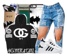 """""""Untitled #911"""" by chynelledreamz ❤ liked on Polyvore featuring HUF, Casetify and adidas"""