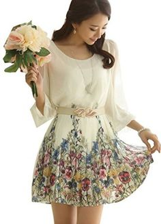 Women's Chiffon Floral 3/4 Sleeve Summer Beach Sundress Casual Dress  ACEFAST INC