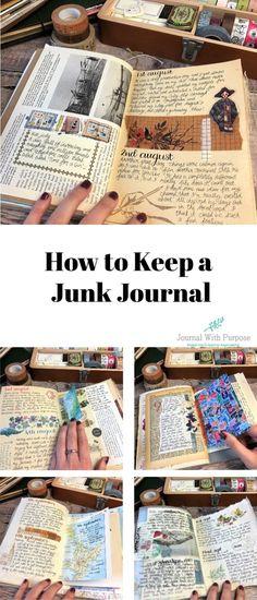 How to Keep a Junk Journal – Art Journal – evcraft Junk Journal, Bullet Journal Books, Bullet Journal Ideas Pages, Art Journal Pages, Art Journals, Vintage Journals, Art Journal Covers, Diy Journal Books, Journal Ideas Smash Book