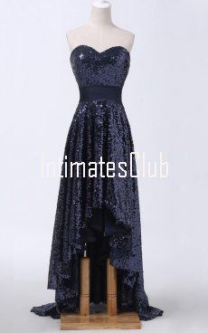Black A Line Sweetheart Sequined Asymmetrical Sashes Ribbons Sparkly High Low Prom Dress