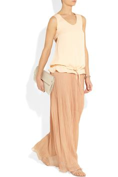Chloé Plissé-chiffon maxi skirt Chloé's SS13 collection is an elegant and feminine affair, filled with delicate layering. We love the subtle hue and ethereal feel of this floaty chiffon-plissé skirt. Wear yours with crystal-embellished accessories for a fresh take on eveningwear.     Shown here with: Chloé top, Philippe Audibert bracelets, Monica Vinader bracelet and rings, Maison Martin Margiela rings and clutch, René Caovilla shoes.
