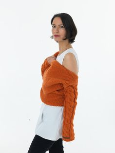 """Just use your imagination ;)    This listing is a burnt orange knit.thing03 knitted by pure merino wool yarn.    To have a better idea about the colour please click on the link below and take a look all the pictures.    https://www.etsy.com/listing/168469214/dada-blazer?ref=shop_home_active_17    READY TO SHIP    All """"Nihan Altuntas"""" customers have an opportunity to choose the color and material, since all of the products are always knitted according to the customers measurements. Each item…"""