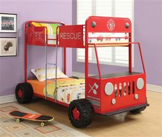 Red Fire Rescue Metal Twin Bunk Bed | Unique Car Beds