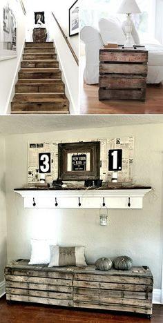 Pallet Ideas Ideas de decoración con palets - Idées déco avec des palettes - We're all familiar with upcycling by now and the fact that it isn't just a new-fangled way to make your … House, Home Projects, Interior, Diy Furniture, Home Decor, Home Deco, Home Diy, Pallet Furniture, Rustic House