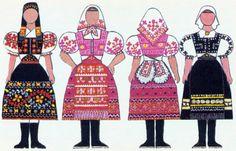 slovak-folk-costumes: Folk clothing around Slovakia, from the book Naše kroje by Viera Nosáľová and Jarmila Paličková. Folk Costume, Costumes, Russian Architecture, Folk Clothing, Culture, Clothes, Vaseline, Regional, Design
