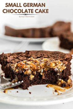 This delicious Small German Chocolate Cake ( 9 inch) satisfies any craving for the larger version you might have that's made with 3 layers. With only two people in our house making a three layer German Chocolate Cake is pretty much out of the question.
