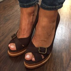 Kors Michael Kors Shoes These are casual and cute suede shoes. They have a matte bronze buckle. The heel is a bit thick and shoe has a small platform. This makes them easy to walk in. These have been worn ONCE! No damage at all.  MICHAEL Michael Kors Shoes Heels