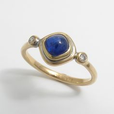 Cushion Cut Blue Sapphire Ring with Diamonds by Caleb Meyer