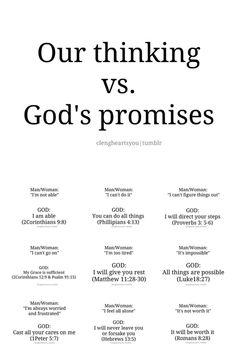 our thinking vs. GOD'S promises