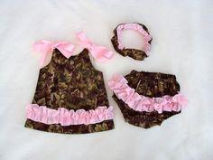 Daddies Little Hunter Girl...A-line Dress, Bloomers, and Headband... Sizes- Newborn, 3m,6m,9m,12m,18m,2T,3T,4T. $27.95, via Etsy.