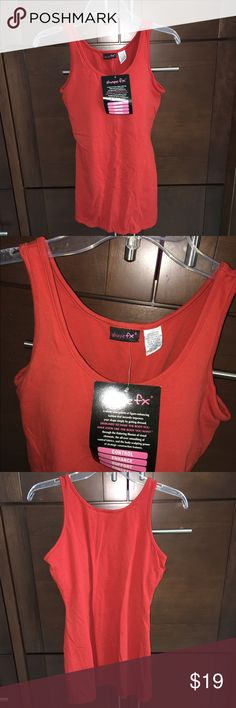 "Control cami-NEW! Awesome stretch shapewear cami with built in bra, 36C. 27"" long shoulder to hem. Looks orange in pic but it's really a rust color, kind of a dark orange. BRAND NEW NEVER WORN. 95% cotton, 5% spandex. Shape FX Tops Tank Tops"