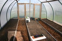 poly pipe hot house with raised garden beds