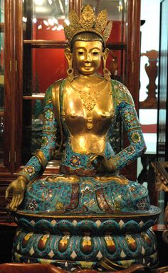 https://flic.kr/p/8ckpQm | Crowned Buddha statue, blue colored cloisonne over brass, Issaquah, Washington, USA