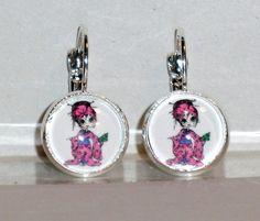 Ohrringe Geisha Damen Hänger Ohrschmuck Modeschmuck ohne Stein Cabochon Glas