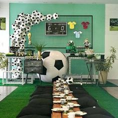 May this pin was discovered by gorgeous by design events and decor. Soccer Birthday Parties, Football Birthday, Sports Birthday, Soccer Party, Sports Party, Kids Soccer, Kids Party Themes, Birthday Party Decorations, Craft Party