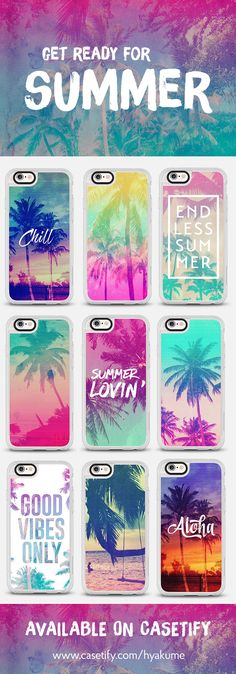 summer-themed iphone cases, inspired by tropical Hawaii, California, the beach, palm trees, sunsets, the ocean, surfing, sun, fun and sand, tanlines, laughter, friends, memories, good vibes and good vibes only - get yourself and your phone (and other electronic devices) ready for the warmest season of the year, check out my designs designed especially for summer, available now @casetify