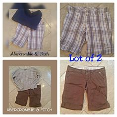 """LOT of 2 ABERCROMBIE & FITCH SHORTS These very comfortable loose fitting shorts look fabulous with tees and polos. In excellent condition, with signs of normal minor wear. Perfect for spring!   Marine blue, white, and dove gray.  Tag reads 2, but may also fit a 4.  Waist 30"""" Length 17""""  I WILL BE HAPPY TO SELL IN SINGLE PIECES AS WELL. PLEASE LET ME KNOW IF YOU ONLY WANT ONE! SAVE 10% MORE NOW BY BUNDLING!  All of my items come from extremely clean non-smoking non-pet home and laundered only…"""