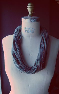 Studded Hand Dyed Organic Jersey Knit Necklace by Stone Crow Designs, $58.00