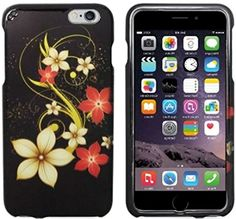 """myLife Black, Yellow, and Red {Tropical Artistic Floral Hibiscus} 2 Piece Snap-On Rubberized Protective Faceplate Case for the NEW iPhone 6 (6G) 6th Generation Phone by Apple, 4.7"""" Screen Version """"All Ports Accessible"""" myLife Brand Products http://www.amazon.com/dp/B00U0B7GGU/ref=cm_sw_r_pi_dp_uQgfvb051N4QJ"""