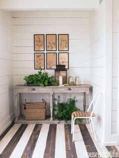 """In an 1850s guesthouse in Texas, Ginger Barber stained the floor chocolate brown and white. """"We did it for fun,"""" she says. """"We used porch stain to get that on-and-off paint look — imperfect. The shade's a little irregular so the age and patina come through."""""""