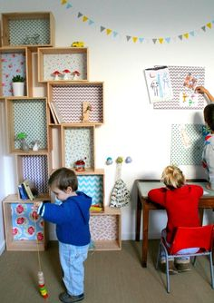 Etagère caisse décorative en bois et tissu - Emilie - L