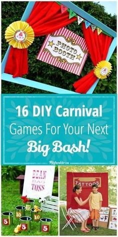 Carnival Game Signs, Halloween Carnival Games, Carnival Games For Kids, Carnival Themed Party, Carnival Birthday Parties, Circus Birthday, Kids Party Games, Birthday Party Games, Diy Games