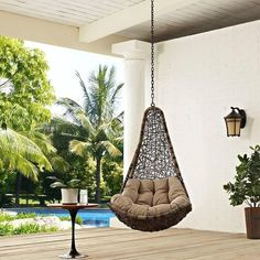 Modway Abate Outdoor Patio Swing Chair Without Stand - ilginc fikirler - balcony Egg Swing Chair, Hanging Swing Chair, Hammock Chair, Hammock Stand, Swinging Chair, Swing Chairs, Hanging Chairs, Outdoor Hanging Bed, High Chairs