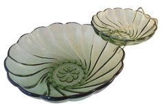 Green Glass Chip & Dip Set. Great find. Mid century with brass stand. In love!