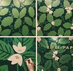 : nspiration for hand-painted 'wallpaper' (by Anna Bond for Rifle Paper) :