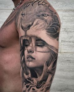 Amazing portrait tattoo-lion tattoo-bicep tattoo