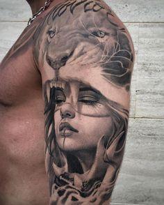 Amazing portrait tattoo-lion tattoo-bicep tattoo