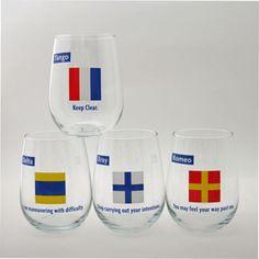 nautical stemless wine glasses