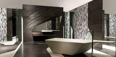 Earthy Bathtub Utilizing Huge Stone : Luxury Bathroom With Natural Stone Rectangular Bathtub And Standing Shower Also Marble Floor