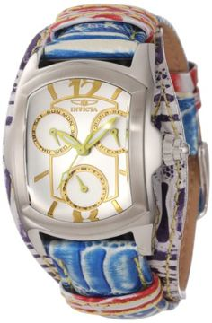 Invicta Women`s 12264 Lupah Silver Dial Blue and Purple Leather Watch   298.50 Purple Leather 78881263b0e