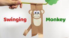 Fun craft for kids SWINGING MONKEY easy paper DIY
