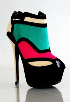 2013 New Color Block Suede Ankle Boots, Peep Toe Color Block Suede Boots #color #block #boots #booties www.loveitsomuch.com