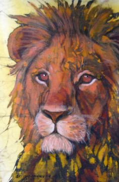Lion, beautiful painting technique (Batik and Encaustic artwork by Beth Erlund) Silk Painting, Painting Art, Paisley Art, Wax Art, Batik Art, Lion Art, Encaustic Art, Beautiful Paintings, Fabric Art