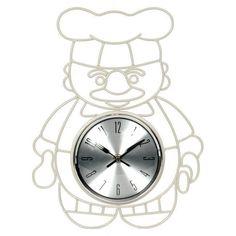 Ρολόι τοίχου μεταλλικό, μάγειρας. Απαραίτητο αξεζουάρ στην κουζίνα σας.