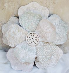 Large Metal Flower Wall Hanging Tin Tiles Shabby Chic Chateau Chic Nursery Decor