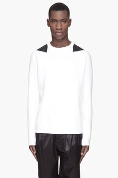 LANVIN White black shoulder cap sweatshirt