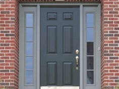 Front Door Colors For Brick Houses. Our Top front door colors for homes with red brick. Pick the perfect color for the front door of your brick house. Brick House Front Door Colors, Brown Front Doors, Modern Brick House, Brick Exterior House, House Exterior, Grey Front Doors, Brick House Designs, Red Brick House