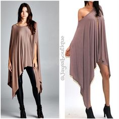The NEW DAY Tunic Poncho Mocha Ultra-soft and flowing, loose fit poncho tunic can be worn as a tunic top, cover-up or dress. Asymmetrical hemline. Edgy and sophisticated, yet comfy. Great as a beach cover-up, too. 95% Rayon, 5% Spandex, made in USA. ONE SIZE FITS MOST. Tops Tunics