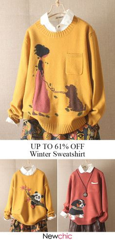 dd6bb2ad79177 Casual Print Knit Long Sleeve Winter Pullover Sweatshirt for Women. Shop  Now!  winter