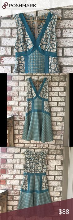 Tracy Reese Anthropology Tracy Reese Flared Seagreen Dress Sz 10 Anthropologie Dresses Midi