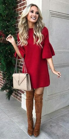 Christmas Outfit For Adults Picture christmas outfit in 2019 dresses cute christmas outfits Christmas Outfit For Adults. Here is Christmas Outfit For Adults Picture for you. Christmas Outfit For Adults sexy christmas costume for women. Mode Outfits, Dress Outfits, Fall Outfits, Crazy Outfits, Casual Outfits, Red Dress Outfit Casual, Couple Outfits, Casual Heels, Classy Outfits For Women