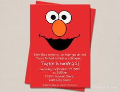 elmo invites-- Could do this with paper facial features in an elmo envelope