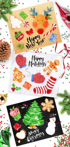 Set of watercolor posters on Cristmas theme. Watercolor elements different kinds of drawing. On crumpled paper, chalkboard and on kraft. All ilustrations are in vivid and very colorful. Font